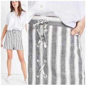 Madewell Lace Up Front Stripe Mini Linen Skirt